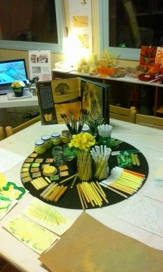"""Loretta Bertani Facebook- love the display as well as the choices of materials. Once children are """"fluent"""" with the tools, it's so respectful to give them choice and to begin to see the difference materials make."""