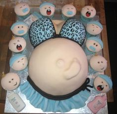 dark blue and lime green baby belly cakes for a boy - Google Search