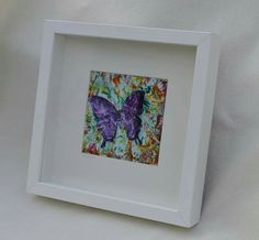 Encaustic wax painted silhoutte butterfly by Moo Doodle https://www.facebook.com/moodoodle15