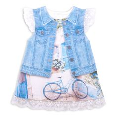 Made from skin-friendly organic cotton With flutter sleeves and a denim style design digital printed baby girl summer dress Comfortable clothing, no irritating tags or seams For babies in sizes: months months months months Made in Turkey Floral Denim, Comfortable Outfits, Flutter Sleeve, Denim Fashion, Overall Shorts, Organic Cotton, Girl Outfits, Summer Dresses, Printed Denim