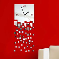 big mirror Wall Clock Decorative Home and living room large design on Etsy, $45.00