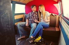 a proposal in a vw photo booth, the photo bus.