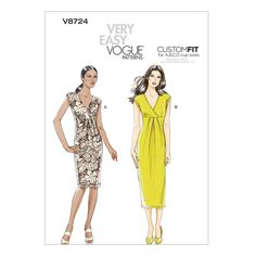 Vogue Patterns V8724 Misses' Empire-Waist Surplice Dress (14-16-18-20) comes in two lengths with a surplice bodice, empire waistline, front pleats, shoulders extended into cap sleeves and back princess seams.
