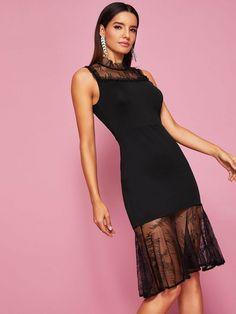 a76d2ebf418a Black Contrast Eyelash Lace Mock Collar Going Out Midi Dress - Popviva  #SequinDress #MeshDress