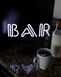 """Start your day off right with the coffee bar! This retro inspired """"BAR"""" neon light is perfect for a home and adds a mesmerizing glow to any entertaining space. Kitchen Shelf Decor, Kitchen Signs, Neon Lighting, Bar Lighting, Diy Signs, Wall Signs, Coffee Signs, Coffee Coffee, Funny Coffee"""