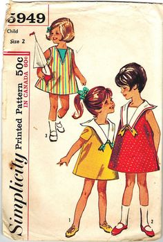 Simplicity 5949 60s Toddler Girls Sailor Collar and Bows A Line Dress Sleeveless or Short Sleeves Vintage Sewing Pattern Size 2