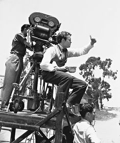 Orson Wells filming Citizen Kane. Greg Toland behind the camera.