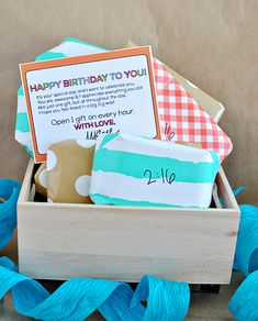 Spoil your loved ones with celebrating their birthday throughout the day.  Open a gift every hour & include cute printable | Thirty Handmade Days  #birthday #gift #ideas