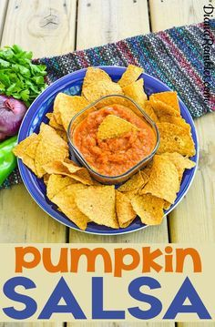 Pumpkin Salsa Recipe - Love pumpkin but want a savory recipe instead? Try this Pumpkin Salsa make with pumpkin puree. It's perfect to take to a potluck or party.