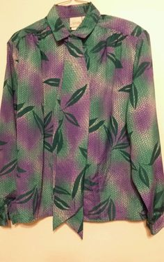 Office Wear Blouse LS Womens Pykett Plant Greens Purples Sz 10 Polyester Career #Pykettes #Blouse #Career