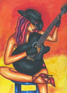 Woman With Guitar Guitar Drawing, Guitar Painting, Music Painting, Painting Of Girl, Guitar Art, Art Music, Art Drawings Sketches Simple, Drawing Ideas, Happy Art