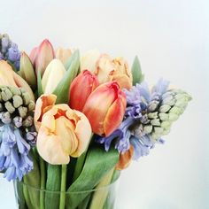 Beautiful and colorful bouquet of tulips and hyacinths. #PANDORAloves #Flowers