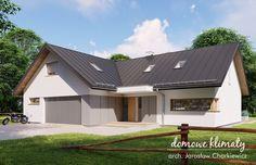 Projekt domu Klimek 2 135.62 m² - Domowe Klimaty Bungalow House Plans, House Blueprints, House Entrance, Ground Floor, Garage Doors, Sweet Home, Shed, Outdoor Structures, House Design