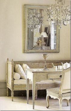 Gustavian style is a restrained interpretation of the French Louis XV and Louis XVI. King Gustave of Sweeden visited Versailles and was influenced by the Neoclassical style.