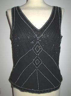* * * Perlentop schwarz, ca.Gr.40 * * * | eBay