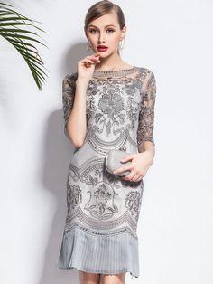 Gris floral media manga plisada de dos piezas Vestido a media pierna