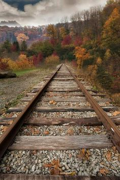 Railroad tracks in autumn