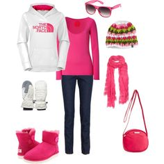 Northface Hat and hoodie: love the boots!! I want this :)