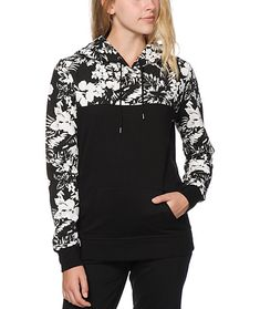 Add some lush style to your life with this thick terry pullover hoodie that features a solid black body that is contrasted by a floral print upper, hood and sleeves.