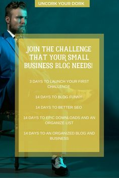 Join a FREE challenge to help you fill in your business blogging blanks!  Whether you need to improve SEO, your writing style, organizing your downloads, or organizing your business...Uncork Your Dork has challenges to help you increase your productivity and impact in your niche.