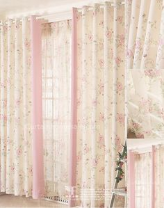 Beautiful Printed Floral Curtain In Pink and Beige Color Poly/Cotton Blend Fabric