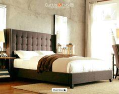 Queen Upholstered Bedroom Furniture Platform Modern Bed Size Frame Wingback NEW Upholstered Platform Bed, Bed, Furniture, Upholstered Panel Bed, Upholstered Storage, Tufted Upholstered Bed, Home Decor, Upholstered Beds, Bedroom Furniture