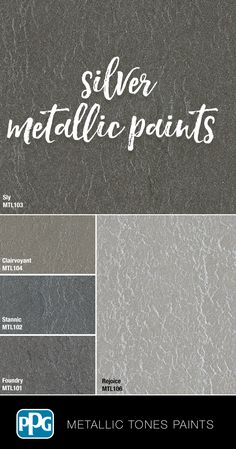 Create a sleek and luminous finish for the walls in your home with our silver Metallic Tones paints. Tintable in 42 curated colors, it would leave a hammered metal finish. Silver Paint Walls, Metallic Paint Colors, Silver Metallic Paint, Glitter Paint For Walls, Paint Colors For Home, Cs6 Photoshop, Pallet Painting, Faux Painting Walls, Painted Staircases