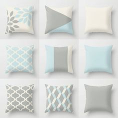 Throw Pillow Covers 16 18 20 26 Off White Grey by HLBhomedesigns