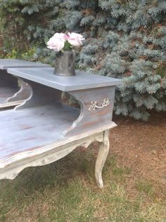 Items Similar To Painted Vintage Side Tables   Pair Of French Tables   Hand  Painted Nightstands   Shabby Chic Bedside Tables   Accent Tables On Etsy