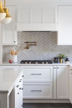 white kitchen fireclay tile backsplash - I would want a backsplash like this with white cabinets Gray Kitchen Backsplash, Herringbone Backsplash, Kitchen Redo, Home Decor Kitchen, Kitchen Interior, Home Kitchens, Herringbone Pattern, Kitchen Splashback Ideas, Country Kitchen Tiles