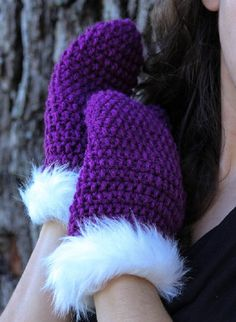 Handmade Dark Orchid Mittens Hand Made Gloves by NorthstarSundries