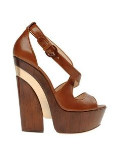 Casadei brown, tan platform wedges