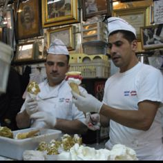 Ice cream parlor in the Damascus suq. Creamy and simple, with heaps of fresh pistachios