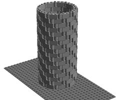 lego round tower 1x2 and 1x1 bricks