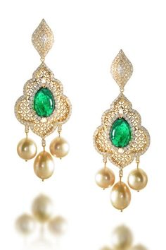 Emerald jali work earrings, Farah Khan Fine Jewellery                                                     Rewind to the days of Akhbar the Great, Shah Jahan, grand domed palaces and epic love stories
