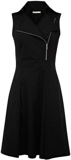 Karen Millen All Black Zip Sleeveless Biker Dress | summer fall style