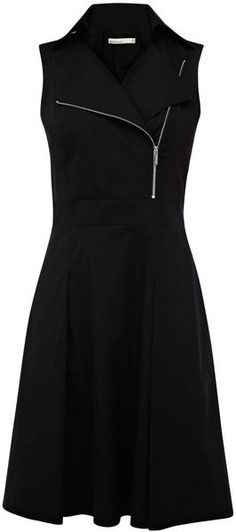Karen Millen All Black Zip Sleeveless Biker Dress | summer fall style