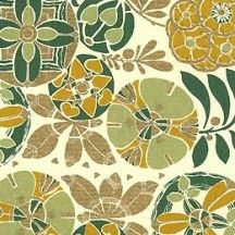 Green Tones Art Deco Floral Print Paper ~ Rossi Italy