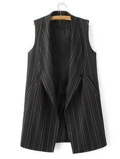 Double Pockets Striped Vest