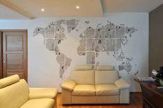 Use newspaper to make a wall design, like a map.