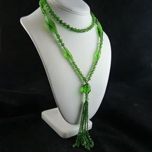 Vintage Art Deco Green Glass Bead Flapper Necklace with Tassel from Ornaments on Ruby Lane