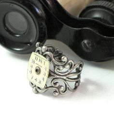 Steampunk Vintage Hamilton Dial Ring with old watch gear, designed by Mystic Pieces