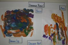 """Some preschool children recently read the story, """"Dinosaur Roar!"""" and then created their own painting of their favorite page. The students combined their love of reading with painting."""