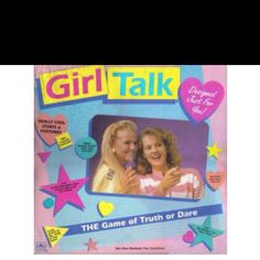 "Girl Talk is the name of a board game first sold in 1988. It was a popular/staple game for teenage girls throughout the 90s. It was similar to the parlour game Truth or Dare. Girl Talk was one of a rash of ""teenage girl-themed games"" that appeared on the market in the 80s and 90s based around boys, talking on the phone, dancing, having parties and sleepovers, and other ""girl-ish"" themes."