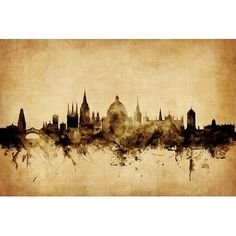 East Urban Home Foxed (Retro) Skyline Series: Oxford, England, United Kingdom by Michael Tompsett Graphic Art on Wrapped Canvas Size:
