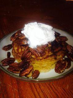 Fluffy Cinnamon Pancakes with toasted Pecans (S) 1/3c oat fiber 1/3c flax meal 1/3 c almond milk 1/4c butter/coconut oil  1 tbs THM sweet blend 3 eggs  2 tsp cinnamon  1 tap (aluminum free) baking powder  1tsp vanilla