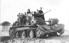 Troopers on the armor tank BT-5 during the Kharkov operation in 1942