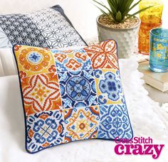 Fiona Baker's Moroccan tiles work perfectly as a pillow! They're featured as the Weekend stitch in issue 219 of Crazy, on sale now!