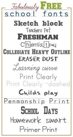 Fabulously Free School Fonts