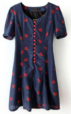 Navy Short Sleeve Heart Print Buttons Dress